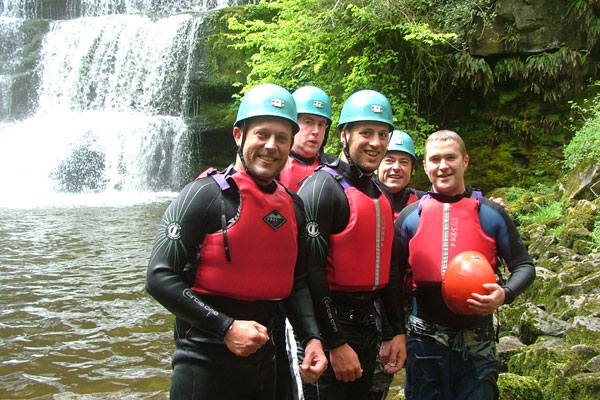 Stag party activities canyoning in Wales